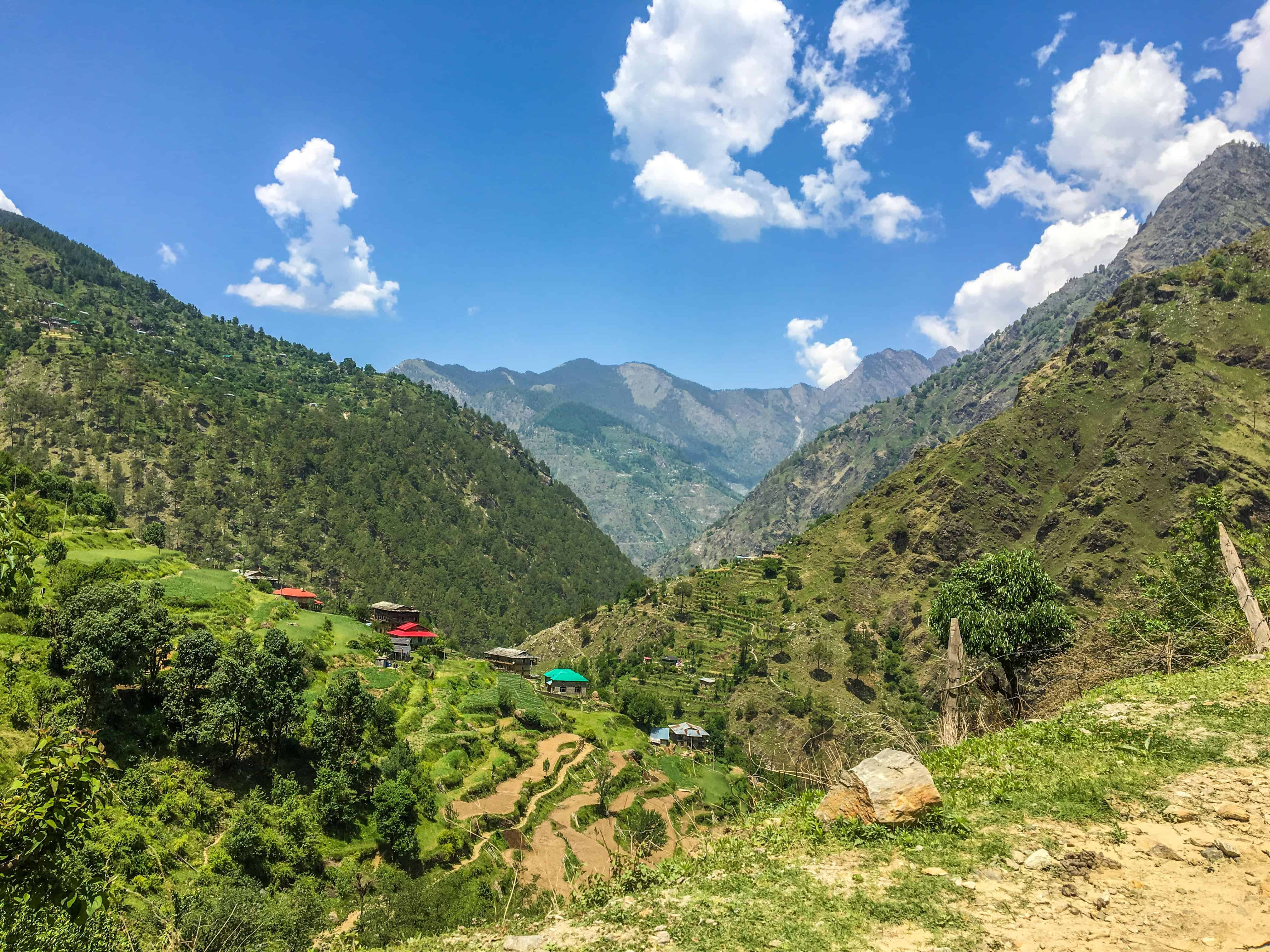 The valley dotted with colourful Himachali houses