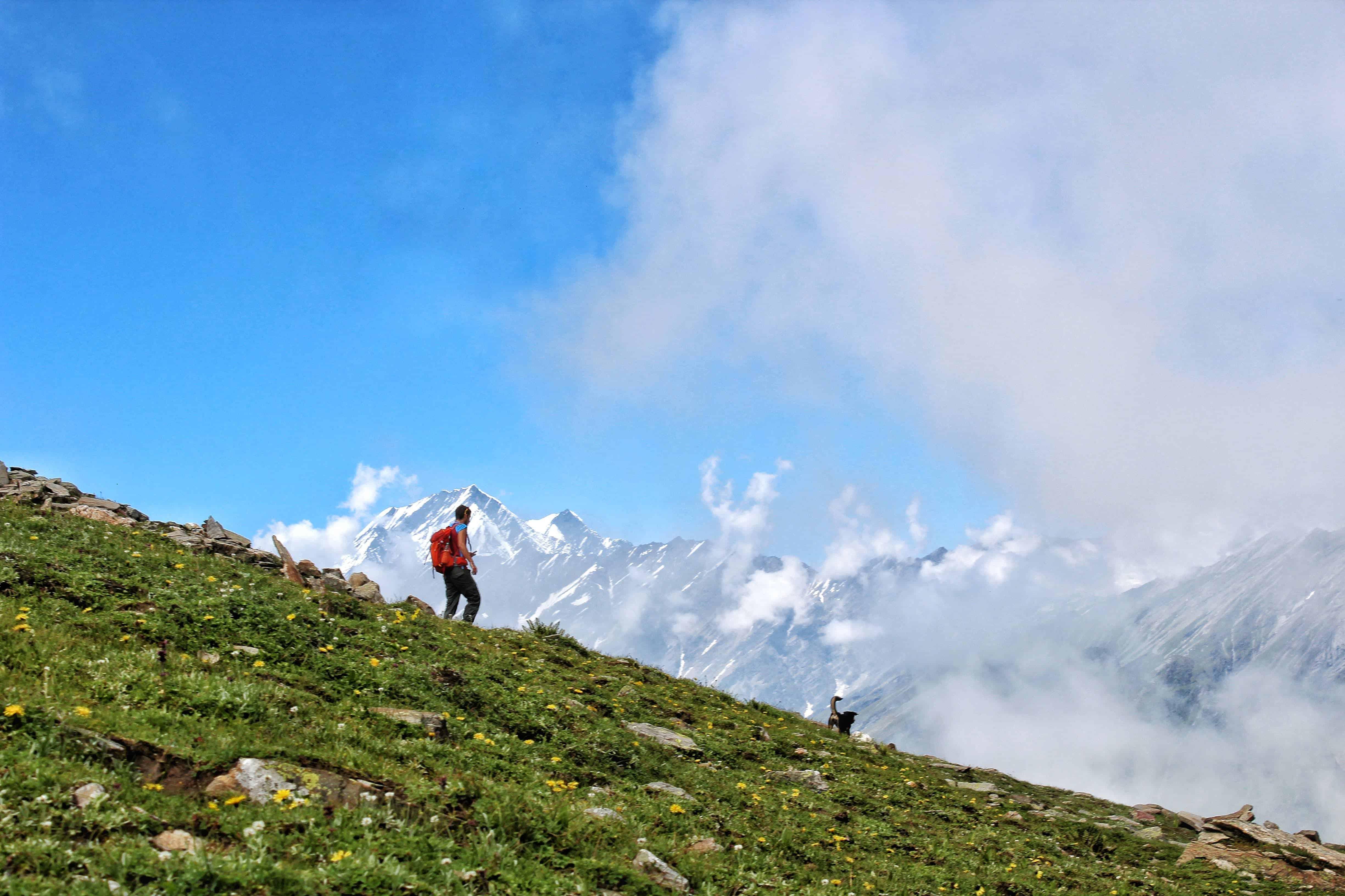 Trekking descending the trail