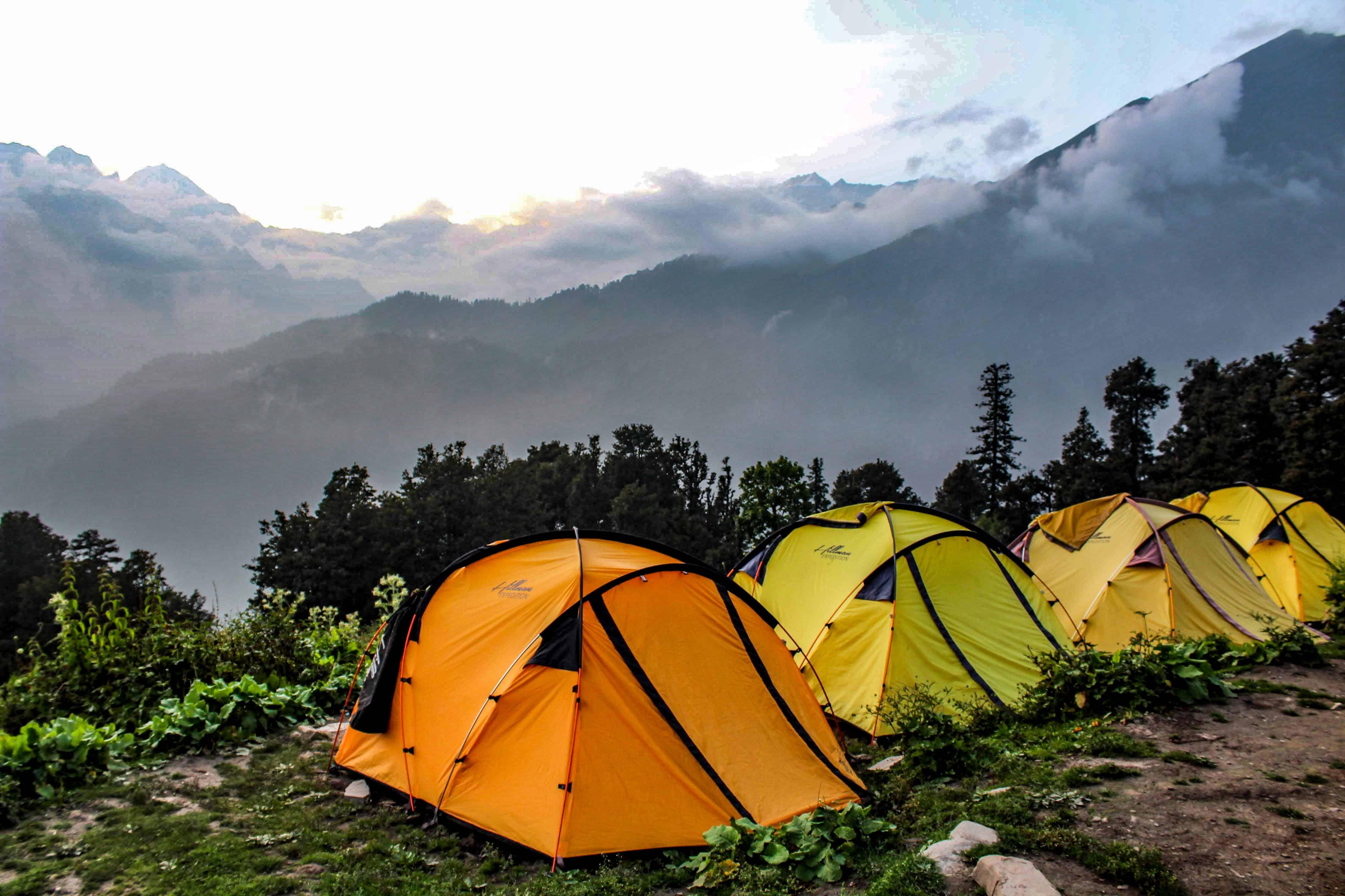 Jonker Thatch Campsite along Bhrigu Lake trek